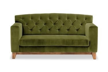 Sofa ros welurowa 2-osobowa welur bawełna 100 oliwkowy