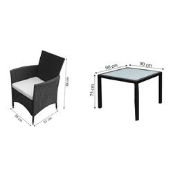 Komplet ogrodowy stół + 4 krzeseł catamarca polirattan czarny