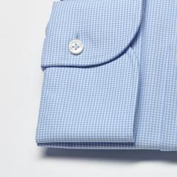 Elegancka koszula męska taliowana slim fit w błękitną krateczkę 44