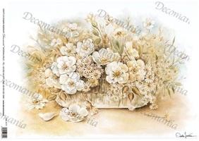 Papier ryżowy decomania 35x50 cm kwiaty wazon
