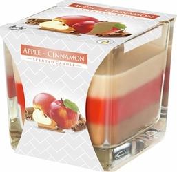Bispol, snk80, Świeca zapachowa trójkolorowa w szkle, Jabłko – cynamon, 1 sztuka