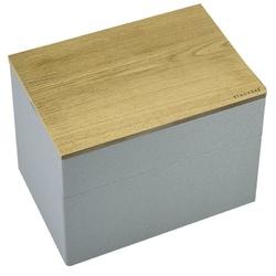 Pudełko na biżuterię podwójne mini wood szaro-koralowe