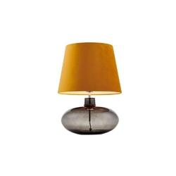 Kaspa - lampa stojąca sawa velvet - dymna, abażur złoty - złoty