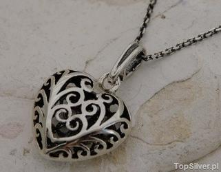 Ażurowe serduszko - srebrny wisiorek