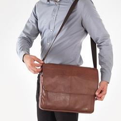 Stylowa torba męska na ramię casual solier s15 jasnobrązowa - brązowy vintage