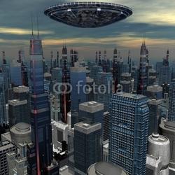 Fotoboard na płycie obcy statek ufo w futurystycznym krajobrazie