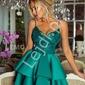 Szmaragdowa krótka sukienka z piankową spódnicą -  leila