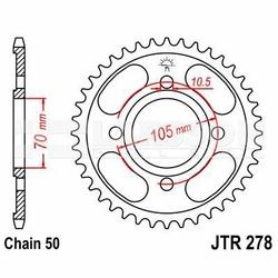 Zębatka tylna stalowa JT 278-38, 38Z, rozmiar 530 2300033 Honda CB 350