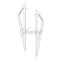 Srebrne kolczyki pr.925 długie trójkąty na sztyft
