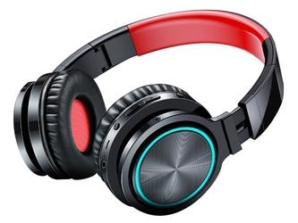 Słuchawki bezprzewodowe nauszne picun b12 led sd bluetooth 5.0 czerwono-czarne - czerwony    czarny