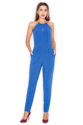 Niebieski kombinezon damski z wiązanymi ramiączkami