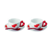 Guzzini - love - kpl. 2 filiżanek do cappuccino, czerwony - czerwony