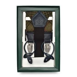 Zielone tweedowe szelki do spodni - krata