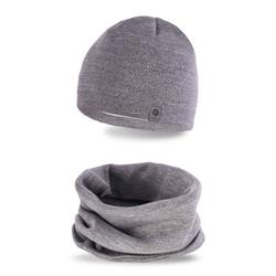 Zestaw zimowy czapka + komin pamami jasny szary