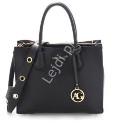 Elegancka czarna torebka damska z ekoskórki
