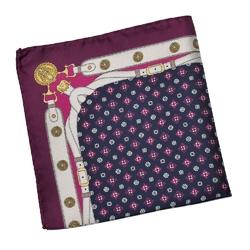 Granatowa poszetka we fioletowy wzór z białym pasem