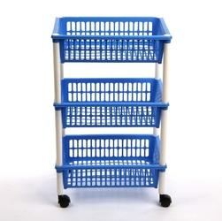 Regał 3 półkowy na kółkach  półki  szafka tontarelli niebieski