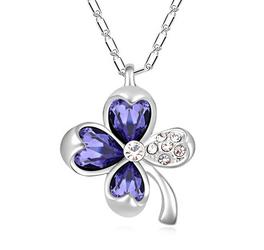 EXCLUSIVE Naszyjnik kwiat fioletowy - fioletowy