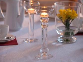 Świecznik szklany na nóżce dekoracyjny na pływające świeczki  tealighty edwanex 28,5 cm