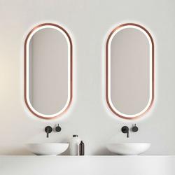 Nowoczesne lustro koria light z oświetleniem led z ramą w kolorze miedzianym