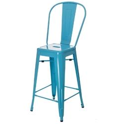 Stołek barowy paris back inspirowany tolix niebieski - niebieski
