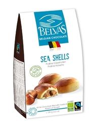 Belvas | sea shells czekoladki białe z nadzieniem orzechowym | organic - fairtrade