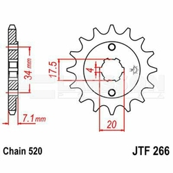 Zębatka przednia JT F266-13, 13Z, rozmiar 520 2200402 Honda CR 125