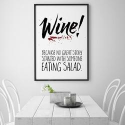 Wine - plakat typograficzny , wymiary - 18cm x 24cm, ramka - czarna , wersja - czarne napisy + białe tło