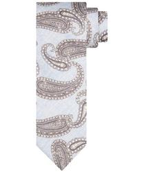 Niebieski krawat z beżowym wzorem paisley