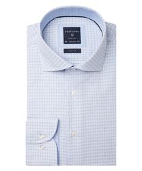 Elegancka błękitna koszula w delikatny kwadratowy wzorek 41