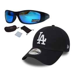 Zestaw okulary przeciwsłoneczne lozano + czapka z daszkiem new era la czarna - 32157