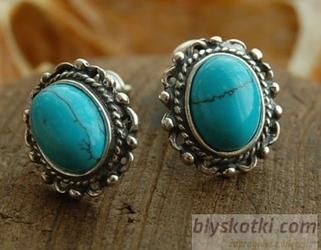 Nebbia - srebrne kolczyki z turkusami