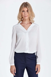 Ecru elegancka bluzka z ozdobnym dekoltem