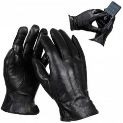 Męskie skórzane rękawiczki dotykowe ocieplane polarkiem r.s - rkw7-s