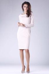 Beżowa prosta midi sukienka z dżetami