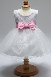 Tiulowa biała sukienka dla dziewczynki na chrzciny, roczek