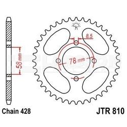 Zębatka tylna stalowa jt 810-47, 47z, rozmiar 428 2300843 suzuki rv 125