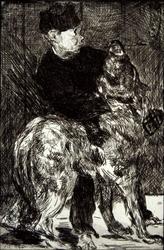 Boy and dog, edouard manet - plakat