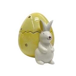 Zając wielkanocny  figurka porcelanowa z żółtym jajkiem altom design 11,5 x 10 x 12,5 cm