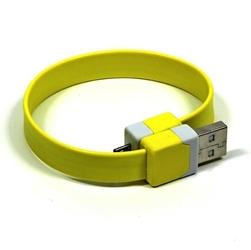 Kabel usb 2.0, usb a  m- usb micro m, 0.25m, żółty, na nadgarstek