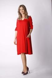 Ruda luźna dzianinowa sukienka z dekoltem w szpic