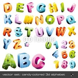 Obraz na płótnie canvas uroczy 3d-alfabet w kolorze candy czapki i cyfry