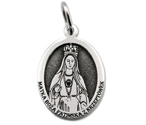 Medalik srebrny z wizerunkiem matki bożej fatimskiej z krzeptówek med-mbfk-01