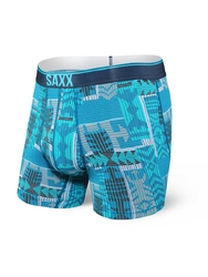 Bokserki męskie saxx quest boxer brief fly blue patchwork - niebieski