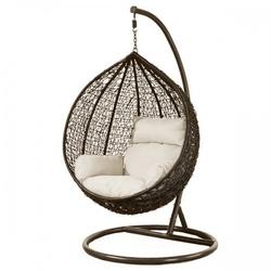 Fotel wiszący bujany kosz huśtawka gniazdo kokon brązowy