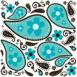 Obraz na płótnie canvas dwuczęściowy dyptyk fajny niebieski paisley