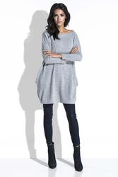 Szary długi sweter bombka z kieszeniami