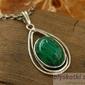 Tessa - srebrny wisior z malachitem
