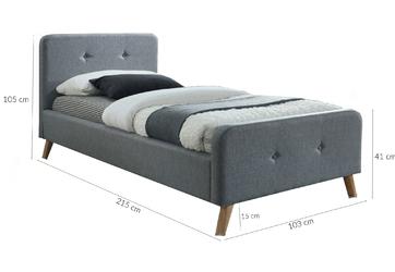 Łóżko tapicerowane lapse 90x200 szare pikowane