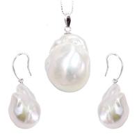 Nori komplet biżuterii srebrnej białe perły barokowe naszyjnik kolczyki